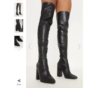 ♡ PrettyLittleThing Thigh High faux leather boots